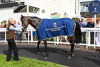 Winner of The Tattersalls Sovereign Stakes Kick On and groom in the Winners enclosure during Horse Racing at Salisbury Racecourse on 15th August 2019