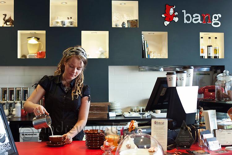 Barista making coffee at Bang Espresso Bar.  Cairns, Queensland, Australia
