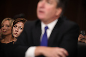Supreme Court nominee Judge Brett Kavanaugh's wife, Ashley, listens to her husband as he testifies before the US Senate Judiciary Committee on Capitol Hill in Washington, DC, September 27, 2018. <br /> Kavanaugh was to testify in front of the panel next on Thursday afternoon, having stridently rejected the allegations of sexual abuse by Blasey Ford and two other women in prepared remarks. / POOL / SAUL LOEB