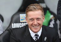 SWANSEA, WALES - FEBRUARY 21: Swansea manager Garry Monk prior to the Barclays Premier League match between Swansea City and Manchester United at Liberty Stadium on February 21, 2015 in Swansea, Wales.