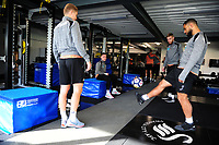 Cameron Carter-Vickers (right) of Swansea City in the gym during the Swansea City Training at The Fairwood Training Ground, in Swansea, Wales, UK. Wednesday 02 November 2018