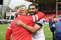 Chris Vui of Bristol Bears with Yann Thomas after the match. Gallagher Premiership match, between Leicester Tigers and Bristol Bears on April 27, 2019 at Welford Road in Leicester, England. Photo by: Patrick Khachfe / JMP