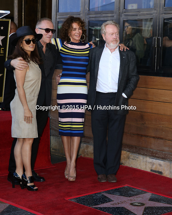 LOS ANGELES - NOV 05:  Salma Hayek, Francois-Henri Pinault, Giannina Facio, Ridley Scott at the Ridley Scott Hollywood Walk of Fame Star Ceremony at the Hollywood Blvd on November 05, 2015 in Los Angeles, CA
