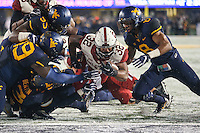 Morgantown, WV - November 19, 2016: Oklahoma Sooners running back Samaje Perine (32) dives for a touchdown during game between Oklahoma and WVU at  Mountaineer Field at Milan Puskar Stadium in Morgantown, WV.  (Photo by Elliott Brown/Media Images International)