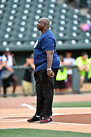George Rogers is introduced as the manager for the Celebrity Team before a game against the soldiers from Fort Jackson as part of the All Star Game festivities at Spirit Communications Park on June 19, 2017 in Columbia, South Carolina. The soldiers from Fort Jackson defeated the Celebrities 1-0. (Tony Farlow/Four Seam Images)