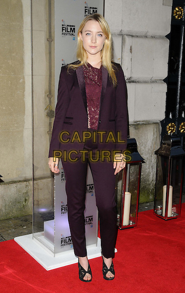 Saoirse Ronan<br /> attended the BFI London Film Festival Awards 2013, 57th BFI London Film Festival day 11, Banqueting House, Whitehall, London, England, UK, 19th October 2013.<br /> full length red maroon burgundy lace top suit trousers <br /> CAP/CAN<br /> &copy;Can Nguyen/Capital Pictures