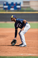 Milwaukee Brewers first baseman Ernesto Martinez (97) during an Instructional League game against the San Diego Padres at Peoria Sports Complex on September 21, 2018 in Peoria, Arizona. (Zachary Lucy/Four Seam Images)
