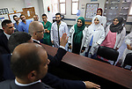 Palestinian Prime Minister Rami Hamdallah visits Al-Shifa hospital in Gaza City October 5, 2017.For three days it was all smiles as the Palestinian prime minister held talks in Gaza with Hamas but as the symbolic visit draws to a close the real work for reconciliation is just beginning. Photo by Prime Minister Office