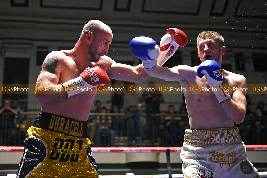 Jason Cunningham (white shorts) defeats Ben Jones during a Boxing Show at York Hall on 8th April 2017