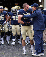 Pitt head coach Paul Chryst and senior wide receiver Mike Shanahan. The Pitt Panthers defeat the Rutgers Scarlet Knights 27-6 on Saturday, November 24, 2012 at Heinz Field , Pittsburgh, PA.