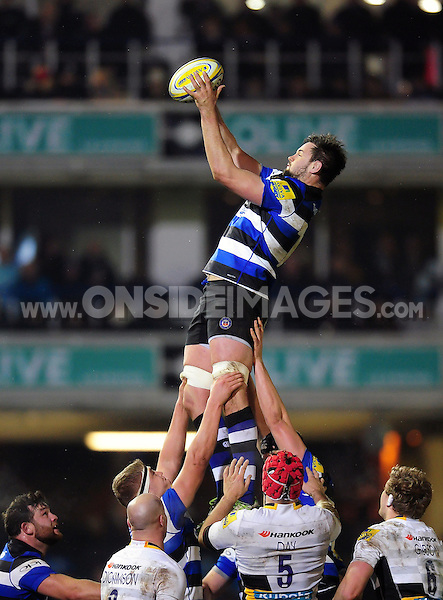 Elliott Stooke of Bath Rugby wins the ball at a lineout. Aviva Premiership match, between Bath Rugby and Northampton Saints on February 10, 2017 at the Recreation Ground in Bath, England. Photo by: Patrick Khachfe / Onside Images