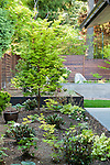 Terraced garden beds in backyard