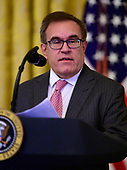 """Administrator of the United States Environmental Protection Agency Andrew Wheeler makes remarks during an event hosted by United States President Donald J. Trump on """"America's Environmental Leadership"""" in the East Room of the White House in Washington, DC on Monday, July 8, 2019.<br /> Credit: Ron Sachs / CNP"""