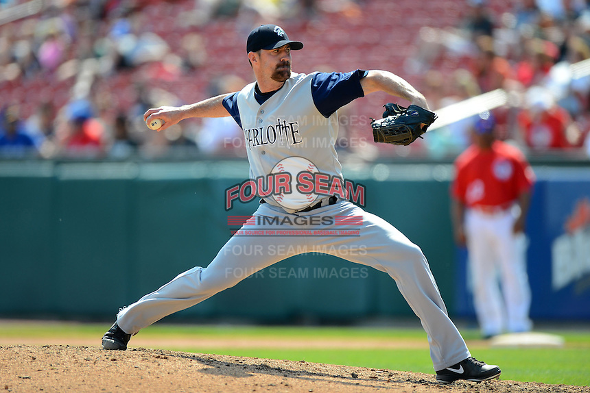 Charlotte Knights pitcher Jeff Gray #35 during a game against the Buffalo Bisons on May 19, 2013 at Coca-Cola Field in Buffalo, New York.  Buffalo defeated Charlotte 11-6.  (Mike Janes/Four Seam Images)