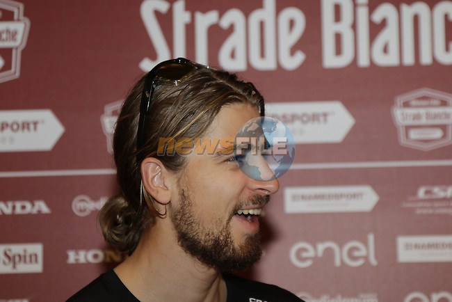 World Champion Peter Sagan (SVK) Bora-Hansgrohe press conference held in Palazzo Sansedoni, Siena, Tuscany, Italy 3rd March 2017.<br /> Picture: Eoin Clarke | Newsfile<br /> <br /> <br /> All photos usage must carry mandatory copyright credit (&copy; Newsfile | Eoin Clarke)