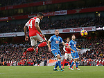 Arsenal's Theo Walcott scoring his sides second goal during the Premier League match at the Emirates Stadium, London. Picture date October 26th, 2016 Pic David Klein/Sportimage