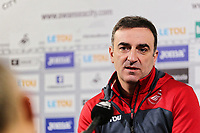 Manager Carlos Carvalhal speaks to members of the press during the Swansea City Training and Press Conference and Press Conference at The Fairwood Training Ground, Swansea, Wales, UK. Thursday 01 February 2018