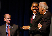 United States President Barack Obama, center, and U.S. Vice President Joe Biden, right, make a campaign stop in Wilmington, Delaware on behalf of Democratic U.S. Senate candidate Chris Coons, left.  Coons is running for the U.S. Senate seat formerly held by VP Biden..Credit: Phil McAuliffe - Pool via CNP