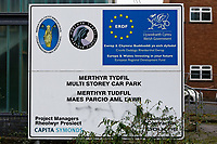 Castle Car Park in Merthyr Tydfil which was partially funded by the European Union, south Wales, UK. Wednesday 12 December 2018