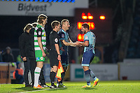 Garry Thompson of Wycombe Wanderers replaces Sam Wood during the Sky Bet League 2 match between Wycombe Wanderers and Yeovil Town at Adams Park, High Wycombe, England on 14 January 2017. Photo by Andy Rowland / PRiME Media Images.