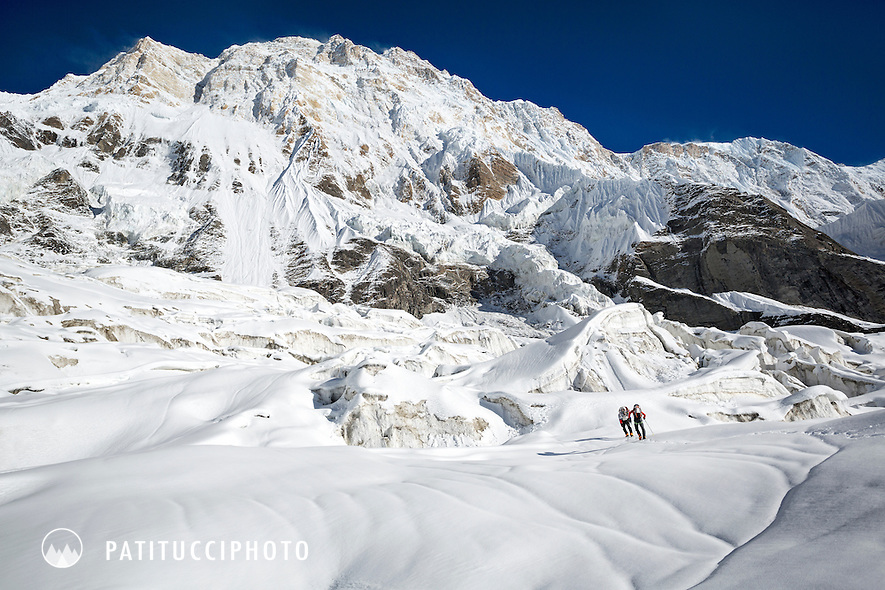 Ueli Steck returned to Nepal and the Annapurna south face in 2013 which he climbed solo, without oxygen, in one 28 hour alpine push, via a new route. The trip was his third attempt to climb the 8000 meter peak. Ueli approaching the south face on the  glacier.