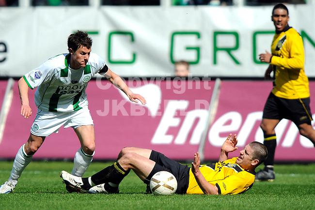 voetbal fc groningen - nac erediivisie seizoen 2007-2008 06-04-2008 fledderus met molhoek..fotograaf Jan Kanning