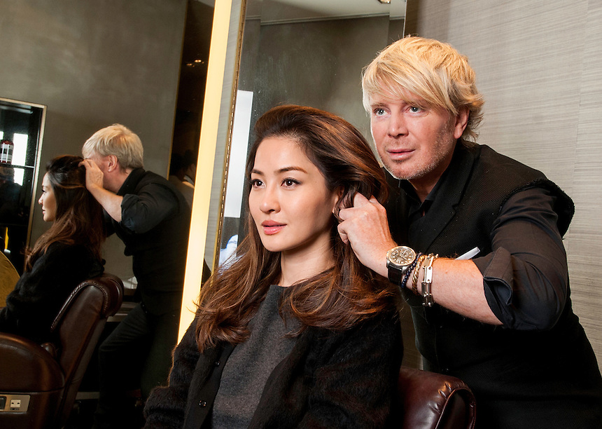 Kim Robinson Celebrity Hairdresser / Stylist opens a new salon in Hong Kong.With Celebrity model Kathy Wong. Pic Jayne Russell <br />