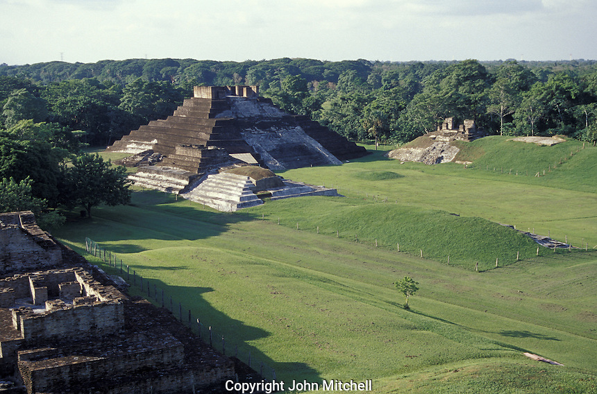 The North Plaza and Temple I at the Mayan ruins of Comalcalco, Tabasco, Mexico. Colmalcalco is unusual because many of its structures are made of kilned bricks.