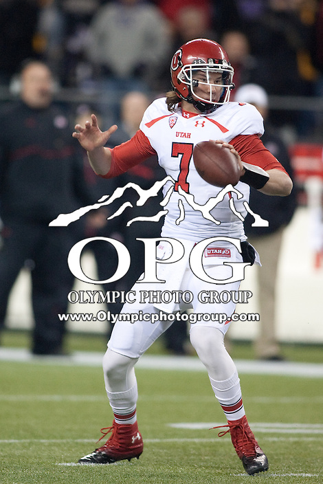 NOV 10, 2012:  Utah's Travis Wilson against Washington.  Washington defeated Utah  34-15 at CenturyLink Field in Seattle, WA...