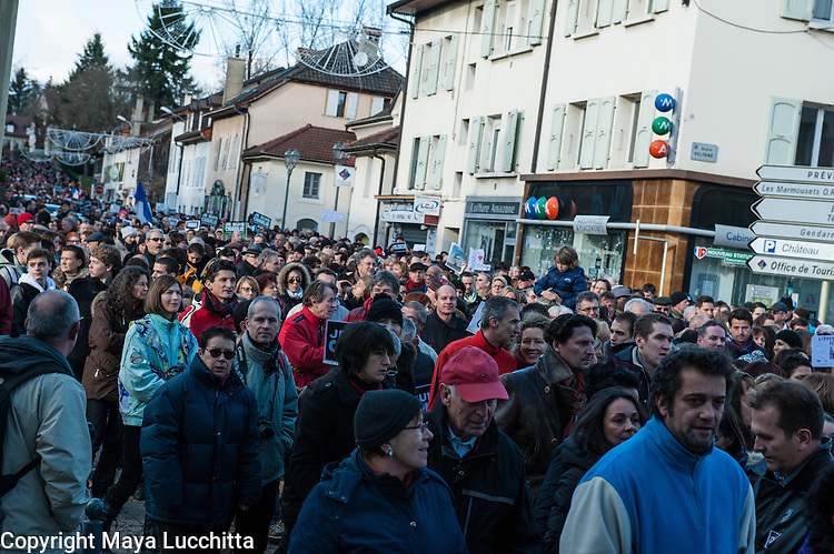Charlie (Charlie Hebdo) march for freedom of speech in Ferney-Voltaire, France.