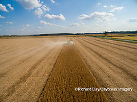 63801-09315 Soybean Harvest, John Deere combine harvesting soybeans - aerial - Marion Co. IL