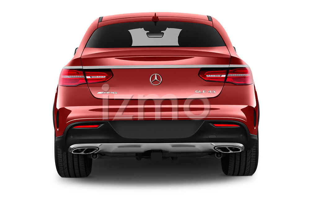 Straight rear view of 2017 Mercedes Benz GLE-Coupe AMG-43 2 Door SUV Rear View  stock images