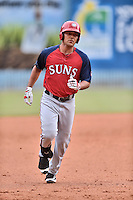 Hagerstown Suns designated hitter Austin Davidson (6) rounds the bases during a game against the Asheville Tourists at McCormick Field on June 6, 2016 in Asheville, North Carolina. The Tourists defeated the Suns 12-10. (Tony Farlow/Four Seam Images)