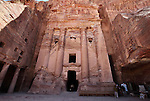The Urn Tomb, part of the  Royal Tombs in the ancient city of Petra in Jordan. The Royal Tombs contain 4 large structures (tombs) carved into the rock facade, which is known as the King's Wall. Petra is the most visited tourist attraction in Jordan, a symbol of the country for its historical and archaeological importance. It has been a UNESCO World Heritage Site since 1985.