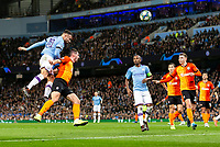 Nicolas Otamendi of Manchester City goes close with a header during the UEFA Champions League Group C match between Manchester City and Shakhtar Donetsk at the Etihad Stadium on November 26th 2019 in Manchester, England. (Photo by Daniel Chesterton/phcimages.com)