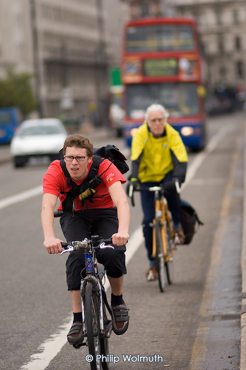 A cyclist using a cycle lane in central London.