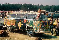 Watkins Glen, New York, July 28 of 1973. More than one million young people gathered into the Watkins Glen Grand Prix Raceway for a single-day festival known as the Summer Jam. Among the performing bands were the Grateful Dead, the Allman Brothers, and the Band. This festival remains the largest rock festival ever in the US. Typical Volkswagen van that hippies drove.