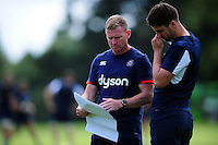 Bath Rugby coach Barry Maddocks speaks with Adam Hastings. Bath Rugby pre-season training session on August 9, 2016 at Farleigh House in Bath, England. Photo by: Patrick Khachfe / Onside Images