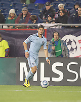 Sporting Kansas City midfielder Milos Stojcev (88) brings the ball forward. In a Major League Soccer (MLS) match, the New England Revolution defeated Sporting Kansas City, 3-2, at Gillette Stadium on April 23, 2011.