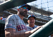 New York Mets manager Mickey Callaway (36) and bench coach Jim Riggleman (50) discuss their options as the Mets bat in the ninth inning against the Washington Nationals at Nationals Park in Washington, D.C. on Thursday, May 16, 2019.  The Nationals won the game 7 - 6.  <br /> Credit: Ron Sachs / CNP<br /> (RESTRICTION: NO New York or New Jersey Newspapers or newspapers within a 75 mile radius of New York City)