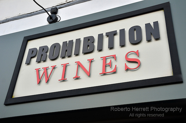 Prohibition Wines off licence sign