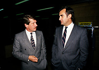 File Photo - Montreal Mayor Jean Dore(L)  and Lucien Bouchard in  the eighties.<br /> <br /> Dore has been told he as a terminal pancreas cancer and 3 weeks to live , this September 2014.<br /> <br /> File Photo : Agence Quebec Pressse  - Pierre Roussel