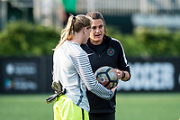 Boston, MA - Sunday September 10, 2017: Britt Eckerstrom and Nadine Angerer during a regular season National Women's Soccer League (NWSL) match between the Boston Breakers and Portland Thorns FC at Jordan Field.