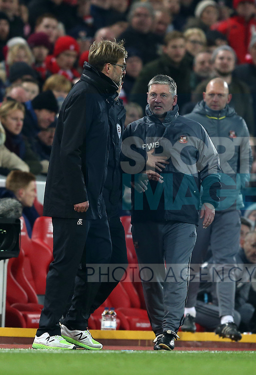 Jurgen Klopp manager of Liverpool and the Sunderland back room staff are kept apart during the Premier League match at the Anfield Stadium, Liverpool. Picture date: November 26th, 2016. Pic Simon Bellis/Sportimage