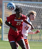 Virginia's Emily Sonnett (16) battles for the ball with Maryland's Hayley Brock (27) during the first round of the ACC Tournament against Maryland Sunday at Klockner Stadium.  Virginia defeated Maryland 6-1. Photo/The Daily Progress/Andrew Shurtleff