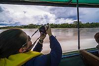 On a boat in the Amazon Rainforest, Coca, Ecuador, South America