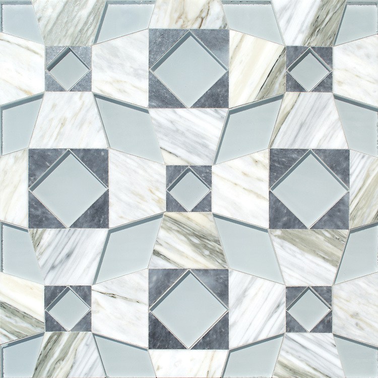 Estrella, a hand-cut mosaic, shown in polished Allure, polished Cirrus, and Island Fog, is by Paul Schatz for New Ravenna, is part of the Miraflores collection by Paul Schatz for New Ravenna.