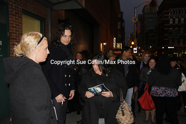 "Fans pose with Bold and The Beautiful Constantine Maroulis stars in the touring production of Rock of Ages as ""Drew"" (starred in Rock of Ages from the beginning when it was off Broadway and then in the Broadway cast) on December 4, 2010 at the Hippodrome Theatre, Baltimore, Maryand. (Photo by Sue Coflin/Max Photos)"