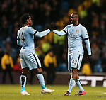Wilfried Bony of Manchester City congratulated by Yaya Toure of Manchester City - Barclays Premier League - Manchester City vs Newcastle Utd - Etihad Stadium - Manchester - England - 21st February 2015 - Picture Simon Bellis/Sportimage