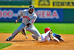 10 March 2009: New York Mets' second baseman Marlon Anderson is unable to control the ball as Lastings Milledge steals second base during a Spring Training game against the Washington Nationals at Space Coast Stadium in Viera, Florida. The Nationals and Mets tied 5-5 in the 10-inning Grapefruit League matchup. Mandatory Photo Credit: Ed Wolfstein Photo